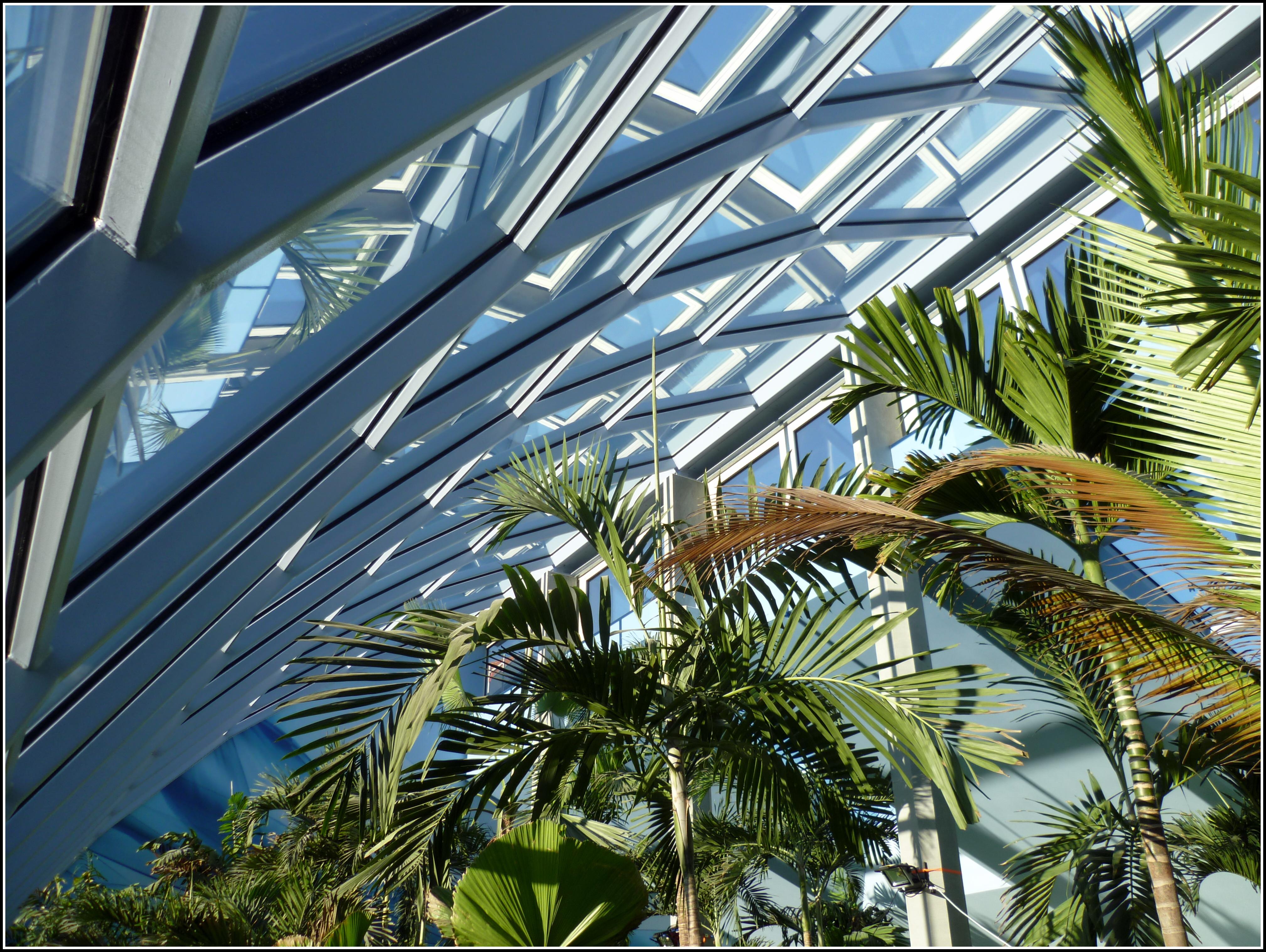 Innenansicht Glasdach und Glasfassade Badeparadies Schwarzwald Titisee