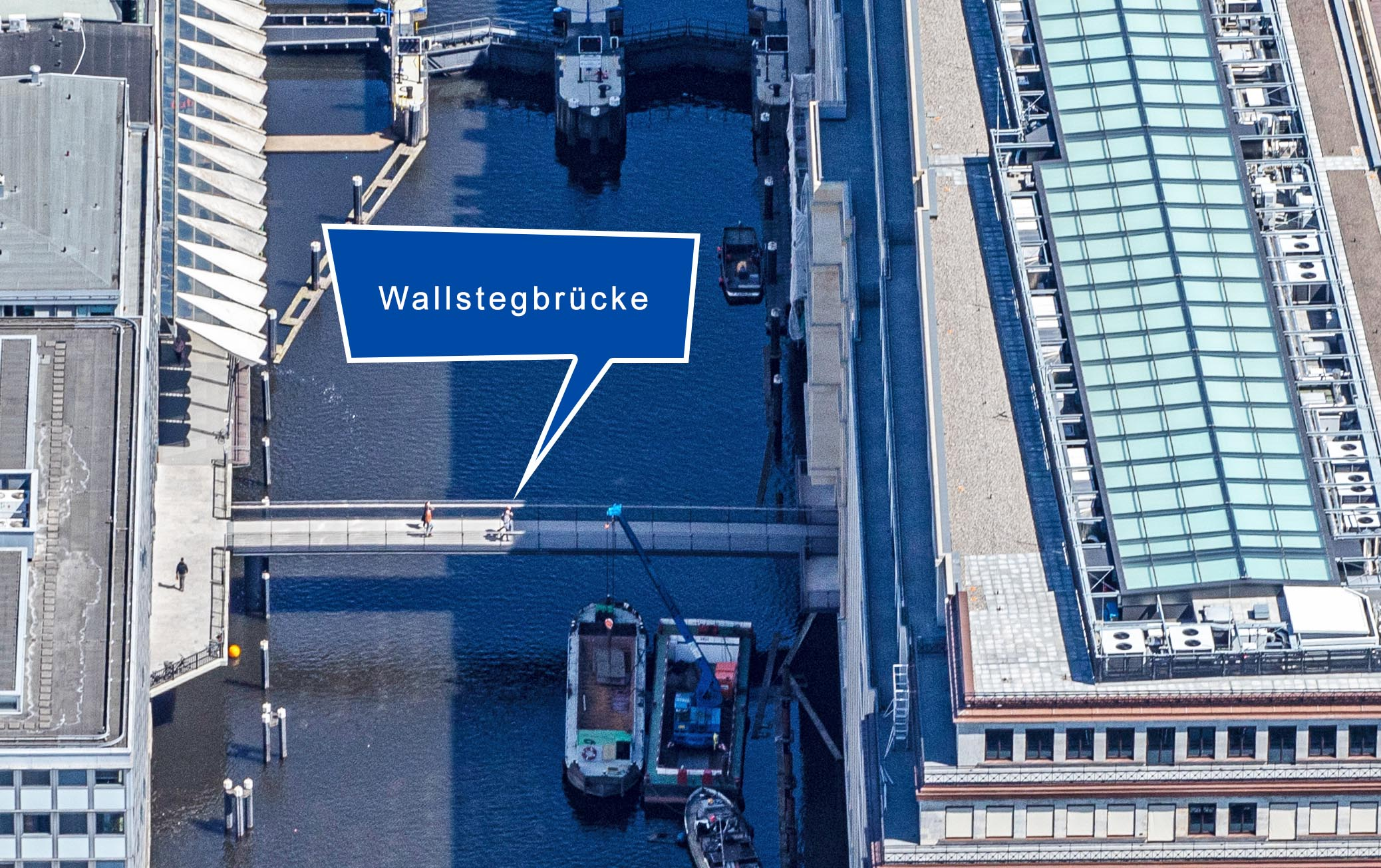 Link zu Hamburg Wallstegbrücke. Luftaufnahme