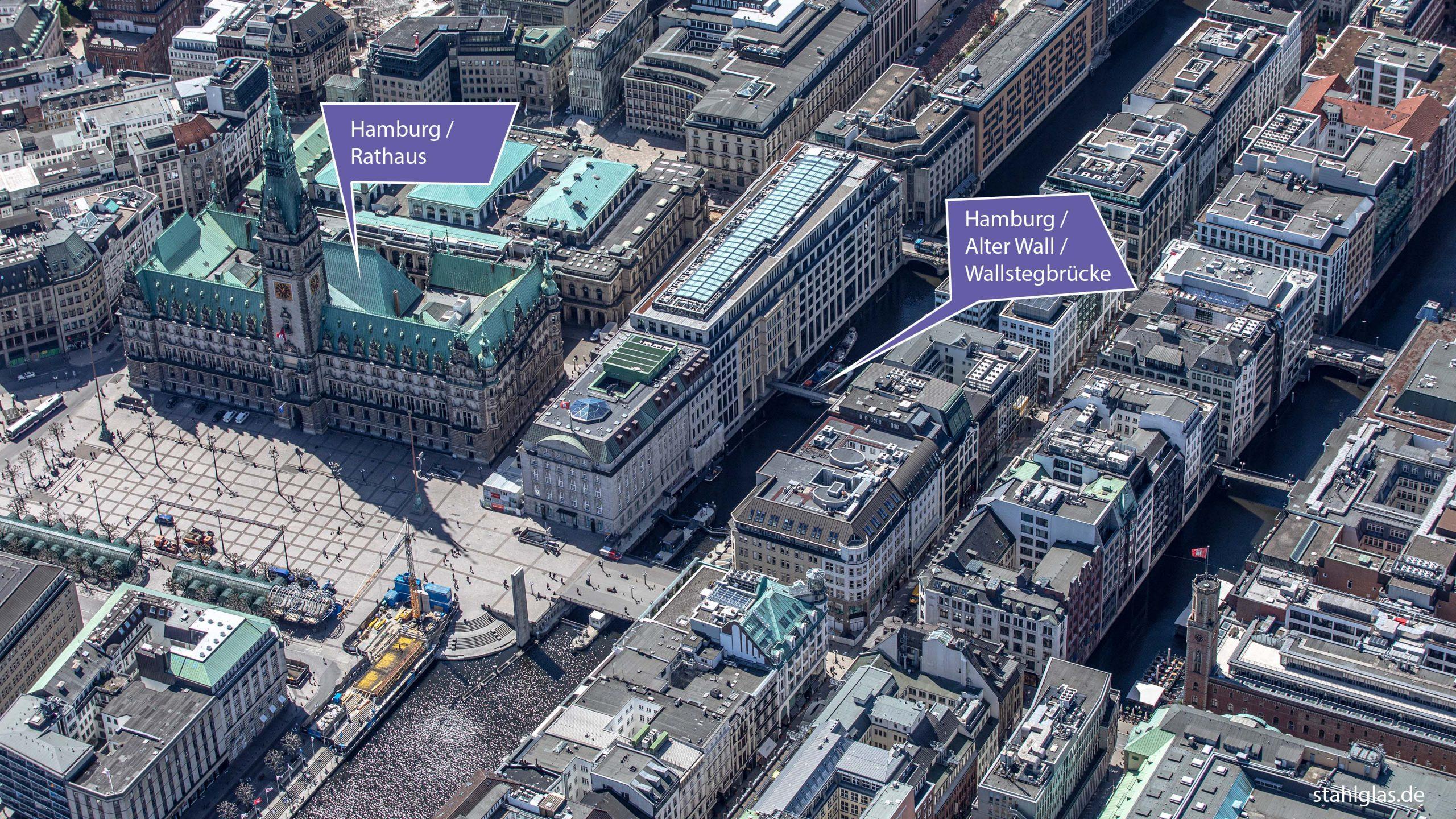 Luftaufnahme mit Informationen zur Fußgängerbrücke Wallstegbrücke in Hamburg