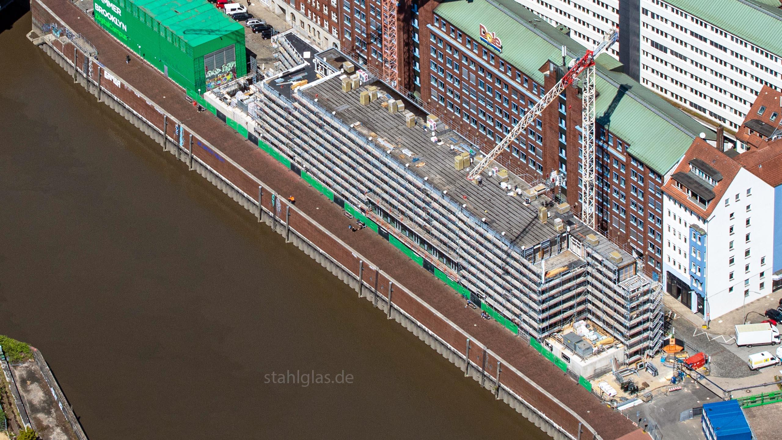 Luftaufnahme Hammerbrooklyn Digital Campus Hamburg, Stahlbau Lamparter