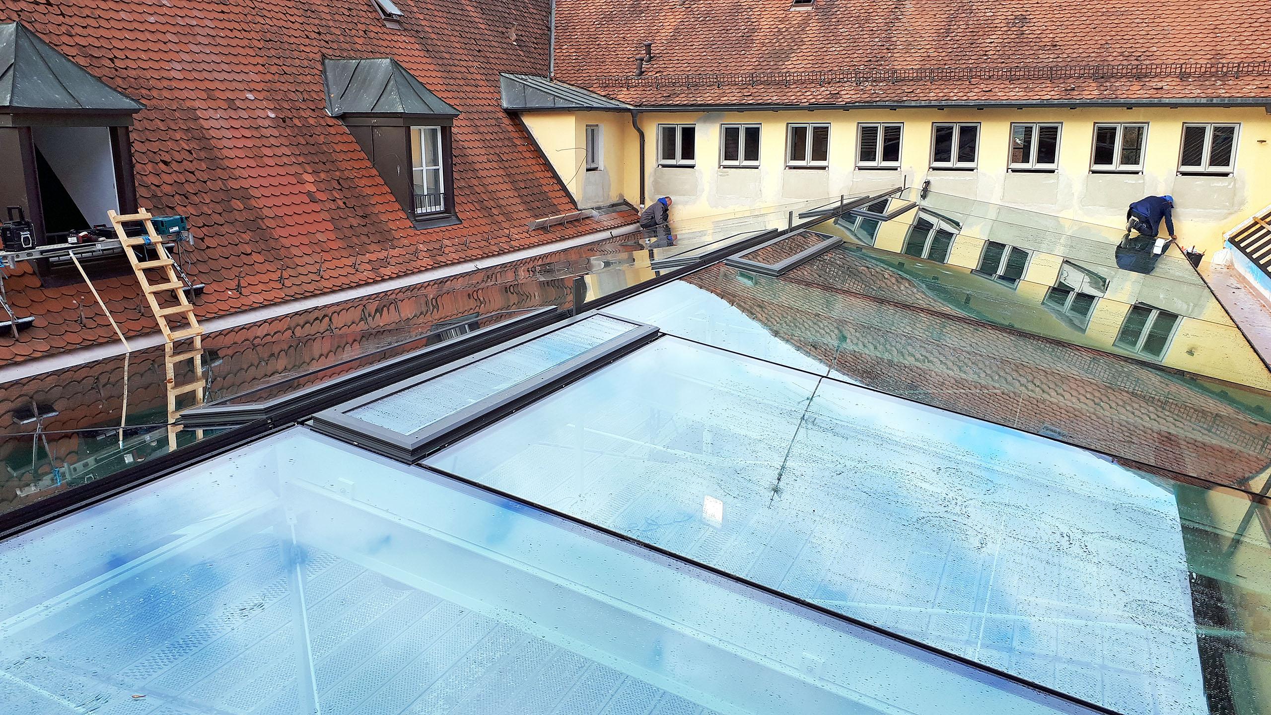 Glasdach der Musikakademie Hammelburg