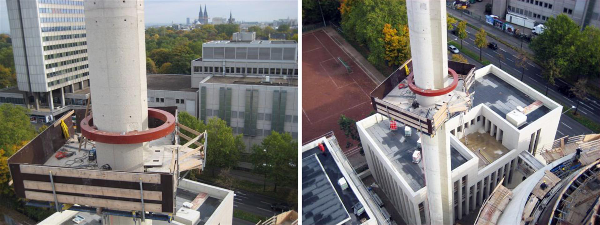 Stahlringe an Minaretten der Zentral-Moschee Köln