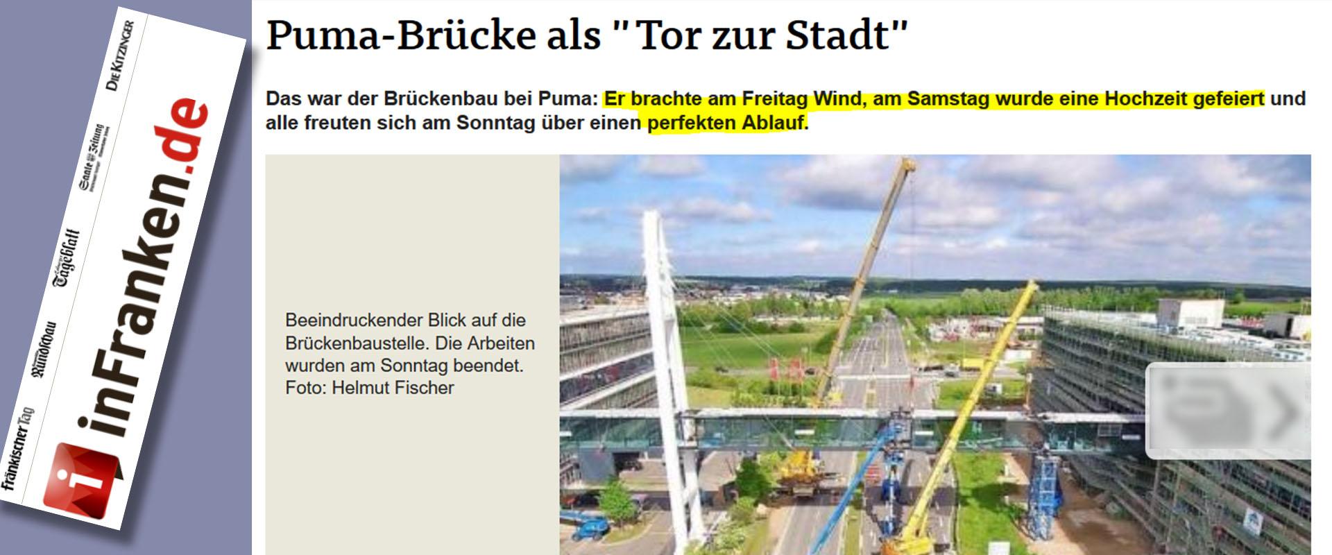 Zeitung InFranken über Stahlbau Lamparter Verbindungsbrücke