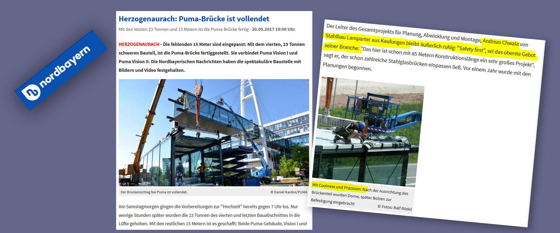 Medien über Stahlbau Lamparter. Puma Brücke Bridge Verbindungsbrücke