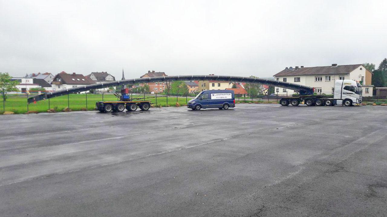 Transport eines Elements einer Verbindungsbrücke für Brillux in Münster